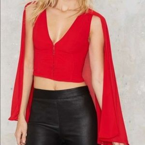 Nasty Gal Night Fire Cape Top In Fire Red